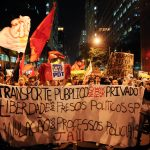 Millions of Brazilians protested fare increases in 2013. The movement expanded to include government corruption, police brutality, and other issues. Photo by Tânia Rêgo/ABr.