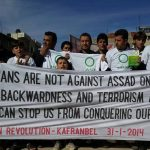 Weekly demonstration in liberated Kafranbel, Syria. Photo courtesy of Syrian Revolution-Kafranbel.