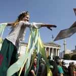 Poets protest in Athens, Greece, against austerity in 2012.