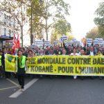 Paris, Nov. 1, 2014: Kurdish organizations march at the World Day Against daesh, for Kobane, for Humanity.