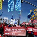 Nurses support striking dockworkers at the Tesoro refinery in Martinez, Calif., on Feb. 12, 2015. Photo by Urszula Wislanka for News & Letters.