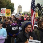 Protesters at national demonstration in St. Louis Oct. 11-12, 2014, against police killings. Actions were prompted by the murder of Michael Brown in Ferguson, Mo.  (Photo by Mar Quita Bradshaw for News & Letters)