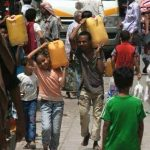 People struggling to find and carry water in Sana'a, the capital of Yemen