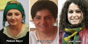 Kurdish activists killed by the Turkish army on Jan. 5. Pakize Nayir was the co-chair of the People's Council in Silopi; Fatma Uyara was an activist with the Free Women Congress; and Seve Demir was a member of the Democratic Regions Party's Assembly.