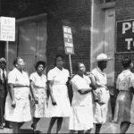 Picket line of Black women tobacco workers striking in Richmond, Va., in 1937.