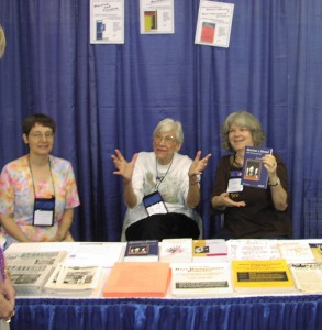 Olga Domanski (middle) at News and Letters Committees literature table at the 2007 National Women's Studies Association Conference.