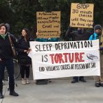 """A recent demonstration in San Francisco, Calif. in support of prisoners at Pelican Bay who also endure so-called """"wellness checks."""" Photo credit: Urszula Wislanka for News & Letters."""