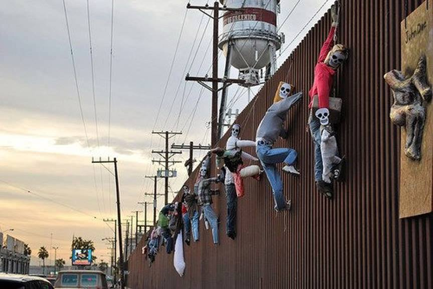 """Mexicali, B.C., Mexico: """"Dia de los muertos"""" protest art in solidarity with migrant workers at the border with Calexico, California. By Hector Silva."""