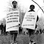 Black women express their thoughts at the Spring Mobilization to End the War in Vietnam, New York City, April 15, 1967. Photo: crmvet.org