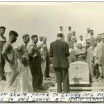 """Caption reads: """"Blessing of grave prior to lowering Mother Jones to new grave at new memorial 1-24-36."""" Mother Jones died in December 1930 and was reburied when her monument at Mt. Olive was completed."""