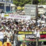 Thousands march during a protest on June 1, 2016, in Bogota, Colombia, joining the farmers nationwide strike. Photo from psm-international.