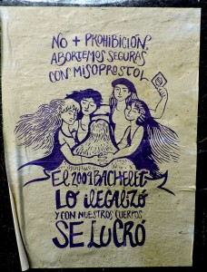 "A poster from Chile's Feminist Propaganda Brigade. English translation: ""No more prohibition, we will abort safely with misoprostol. In 2009 Bachelet outlawed it and became rich off our bodies."" Photo from Ms.Magazine.com."