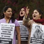 Protest at Jawaharlal Nehru University, Delhi, against Modi government's attacks on academic freedom, and the arrest of student activist Kahaiya Kumar. Photo: www.riazhaq.com