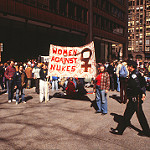 Chicago women protest nukes. Photo by Allan