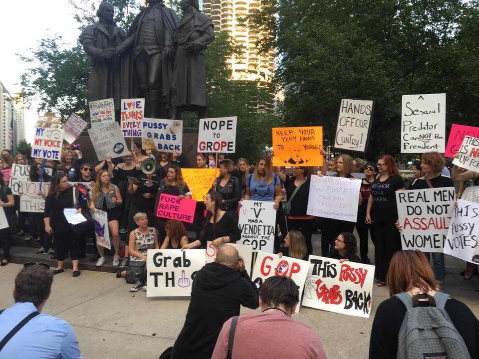 Chicago women protesting in front of Trump Towers on Oct. 18, 2016.