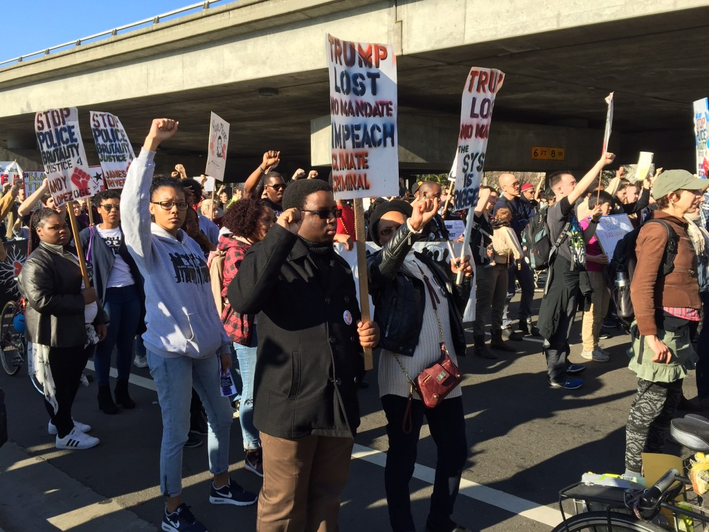 Bay Area protest on Martin Luther King Day, 2017. Photo: Urszula Wislanka for News & Letters