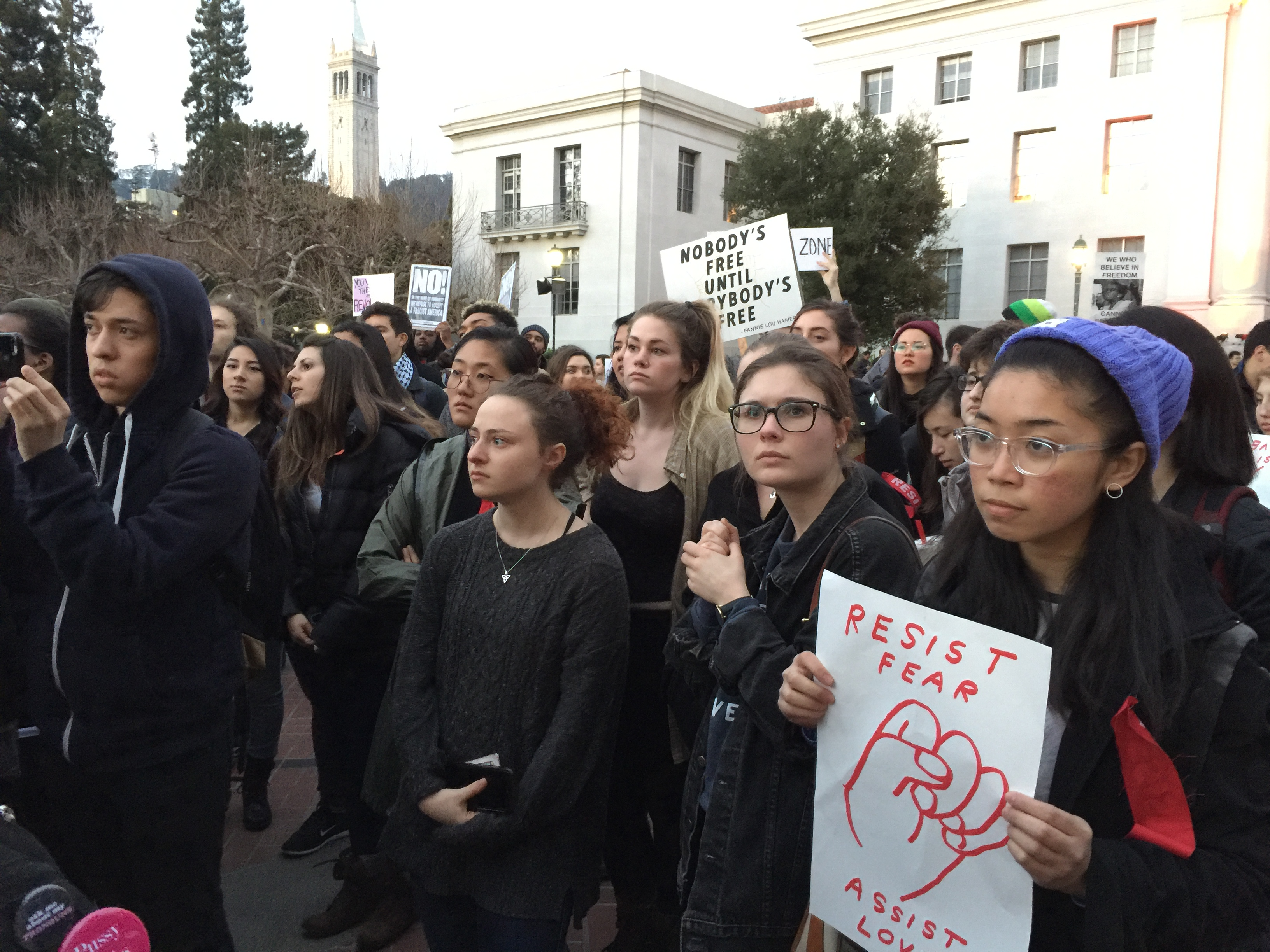 Thousands of students protested on Feb. 1, 2017 at the University of California-Berkeley against Milo Yiannopoulos' aim to begin a campaign against allowing the University to continue as a sanctuary campus that protests immigrant students.