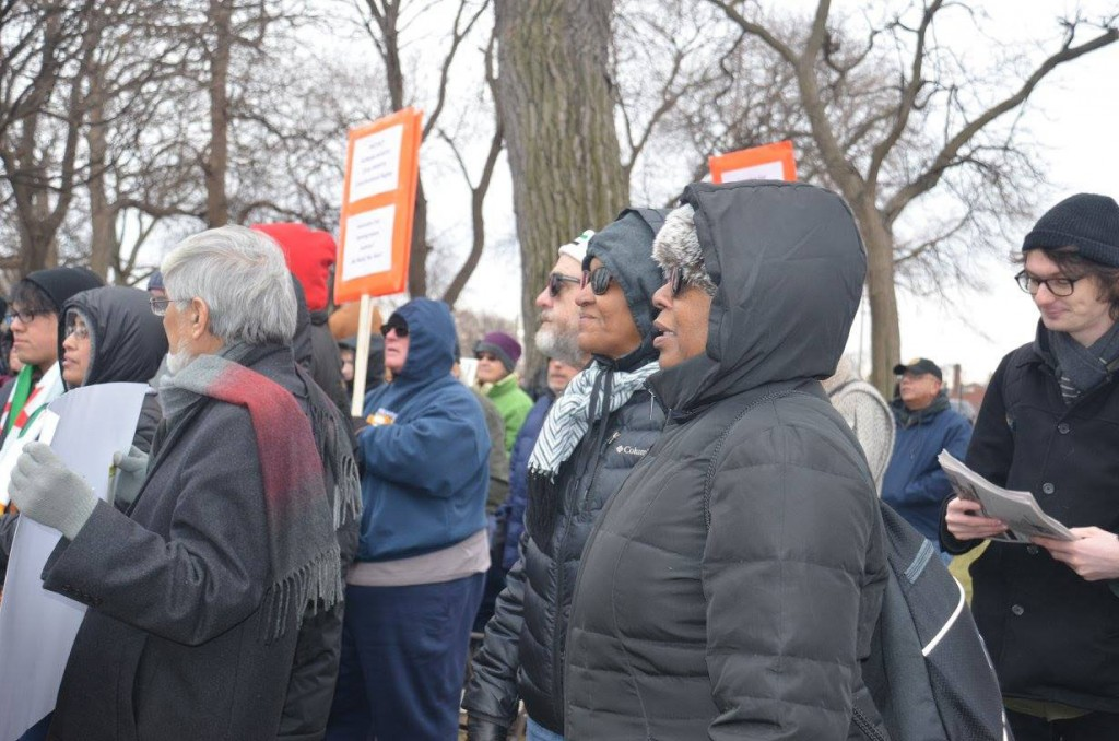 On Feb. 4, 2017, hundreds in Northwest, Indiana, gathered to rage against Trump's Muslim ban. Photo: Ruth Needleman