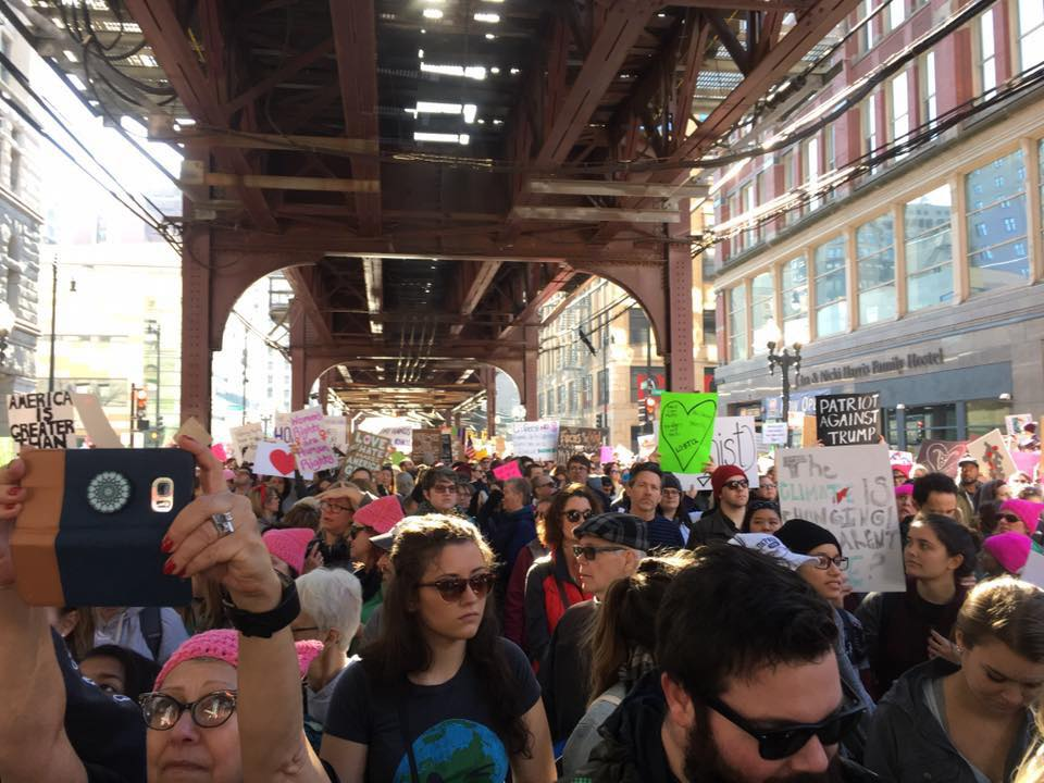 Women in Chicago on Jan. 21, 2017, took off and marched on their own through downtown as the crowd was so large that the march itself was cancelled.