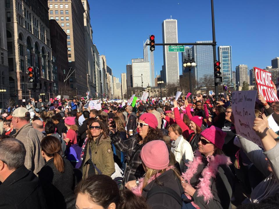 Hundreds of thousands of women participate in the Women's March in Chicago on Jan. 21, 2017, joining with the national Women's March on Washington.