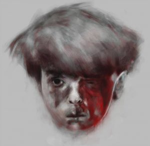 """""""Silence,"""" by Salem Bahrom, a Libyan, is a digital depiction of Omran Daqneesh, the 5-year-old Syrian boy whose picture of him in shock, sitting in the back of an ambulance after an airstrike in Aleppo went viral. Read more: http://www.al-monitor.com/pulse/originals/2017/04/libya-tripoli-art-exhibition-warning.html#ixzz4hGlVLbZ0"""