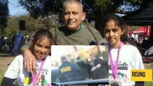 Romulo Avelica-Gonzalez. Inset: a picture of his arrest when he dropped his two daughters off at school in Los Angeles. Since then his conviction of receipt of stolen property has been vacated.