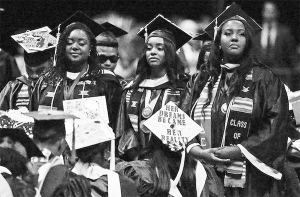 Bethune-Cookman University graduates turning their backs during commencement remarks by Betsy DeVos on May 10, 2017.