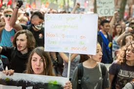 """May 10, 2016, demonstration in Toulouse, France, against the government decree forcing through anti-worker """"labor reform"""" law. Emmanuel Macron was Finance Minister then. Photo: Pablo Tupin-Noriega"""