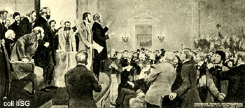 Postcard rendering of the founding of the First International, which partly grew out of workers' international solidarity with the North against slavery in the U.S. Civil War, and in turn had an impact on the struggle for the eight-hour day and Marx's restructuring of Capital. Marx stands near left edge.
