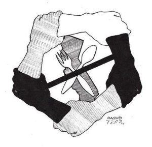 Hunger strike unity logo created by a Pelican Bay prisoner
