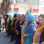 "Afghan women demonstrate on Feb. 13 in Kabul showing their opposition to violence against women. They chant: ""Justice! Justice!"" and ""No more violence! Photo by Afghan Women's Network, www.afghanwomensnetwork.org."