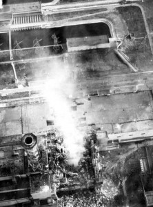 Aerial view of Chernobyl burning.