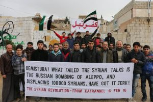 Syrian banner on Russian bombing