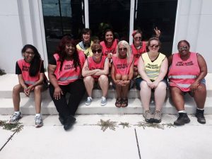 Clinic escorts at the Pink House, the only abortion clinic left in Mississippi. Photo by Clinic Vest Project