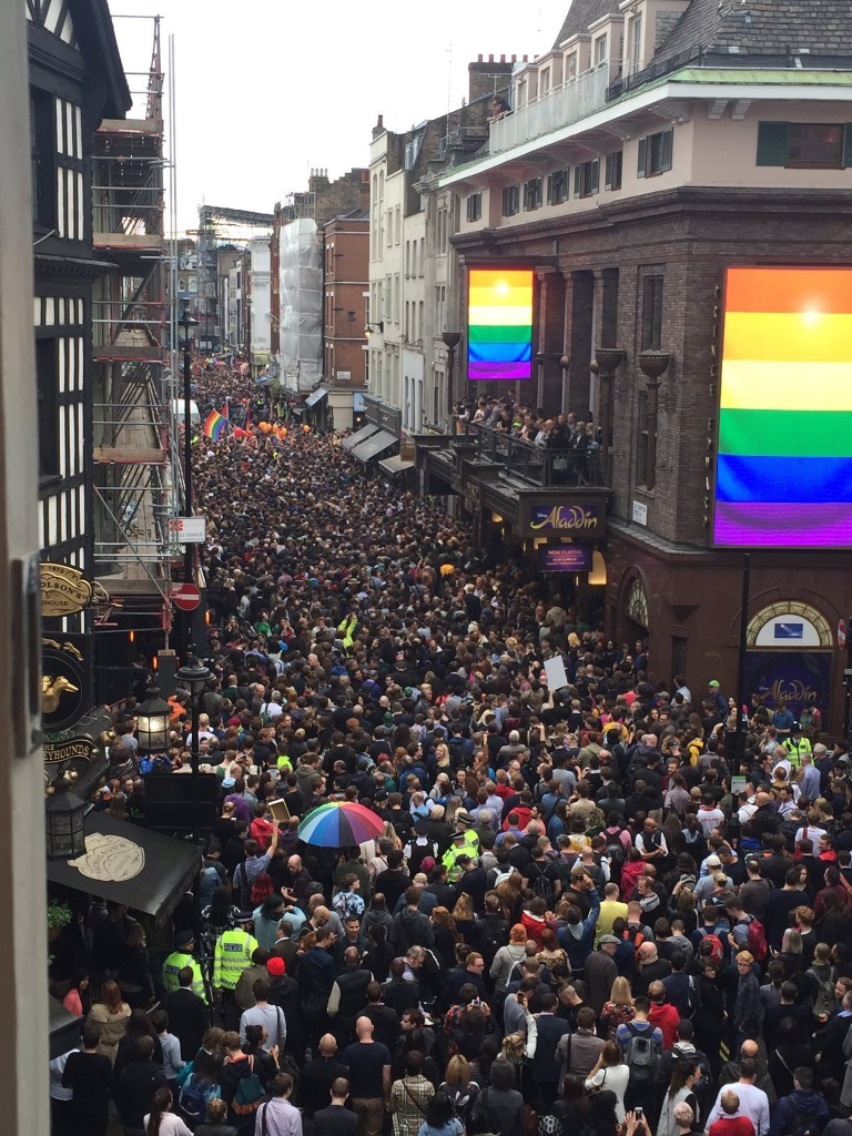 Demonstration in London in solidarity with those murdered and attacked at a gay nightclub in Orlando, Florida. Picture thanks to: twitter.com/WayneDavid81