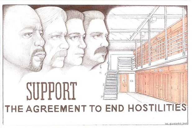 Prisoners at Pelican Bay SHU worked out The Agreement to End Hostilities in response to prison authorities setting prisoners against each other. The Agreement expresses the bases for what is now the Prisoners' Human RIghts Movement. Art by Michael Russell.