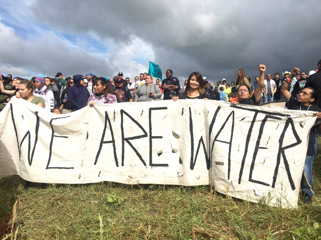 Demonstrators at Standing Rock making their ideas known.