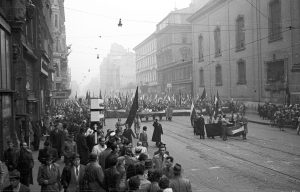 Hungarian freedom fighters and protestors march on Kossuth Square near Parliament in Budapest, Oct. 25, 1956.
