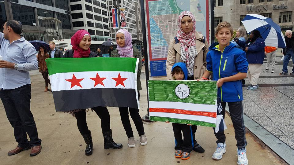 Chicago demonstrators rally to stop genocide in Syria on Oct. 1, 2016. Photo: David A Turpin Jr.