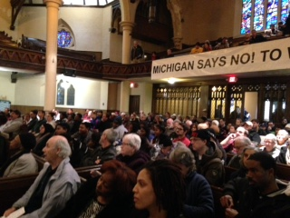 Detroiters rally on Martin Luther King Day, 2016. Photo: Susan Van Gelder for News & Letters.