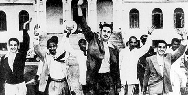 Young Fidel Castro and other rebels released from prison in 1955. Their attack on the Moncada Barracks in 1953 began the revolution.