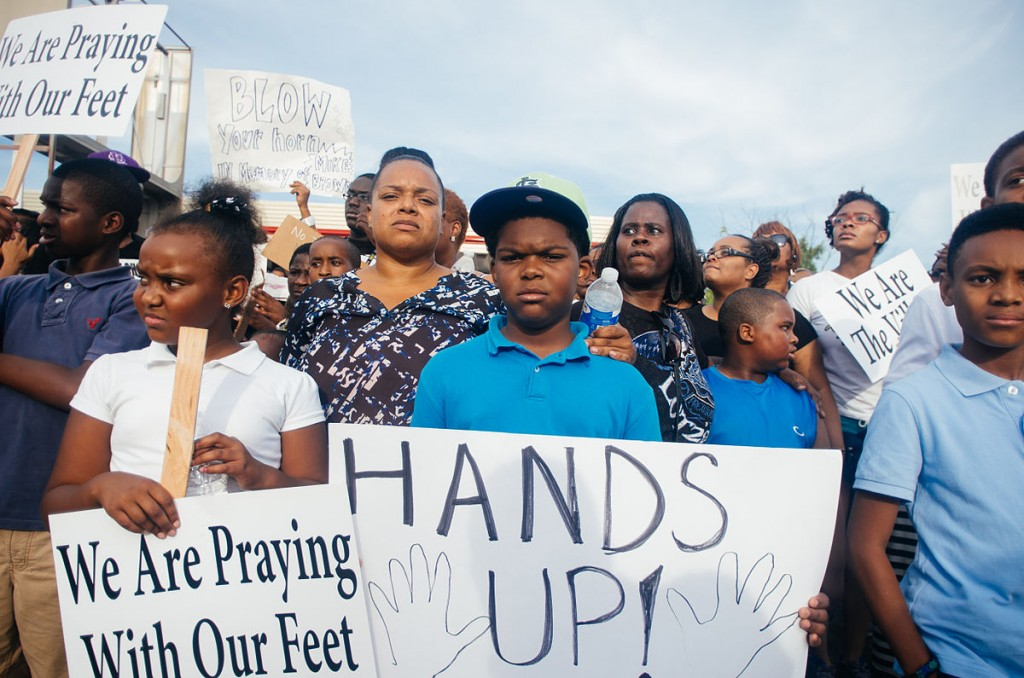 Protesters in Ferguson, Mo., on Aug. 14, 2014, marching against the murder of Michael Brown by the police.