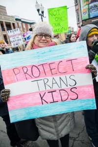 Transgender and gender nonconforming people and their allies rallied in Chicago, Ill., against Trump's lifting of former President Obama's guidance for schools to let gender variant students use bathrooms and locker rooms in accordance with their gender identity.