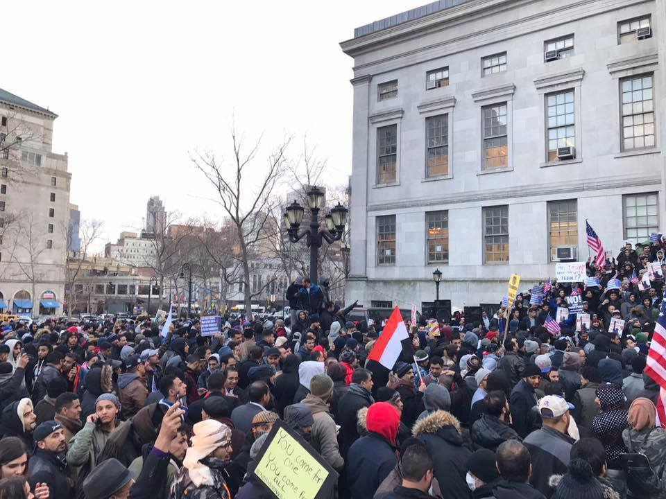 On Feb. 2, 2017, Yemeni immigrants and citizens in New York closed their business and rallied at the Brooklyn Borough Hall. Photo: Patch.com