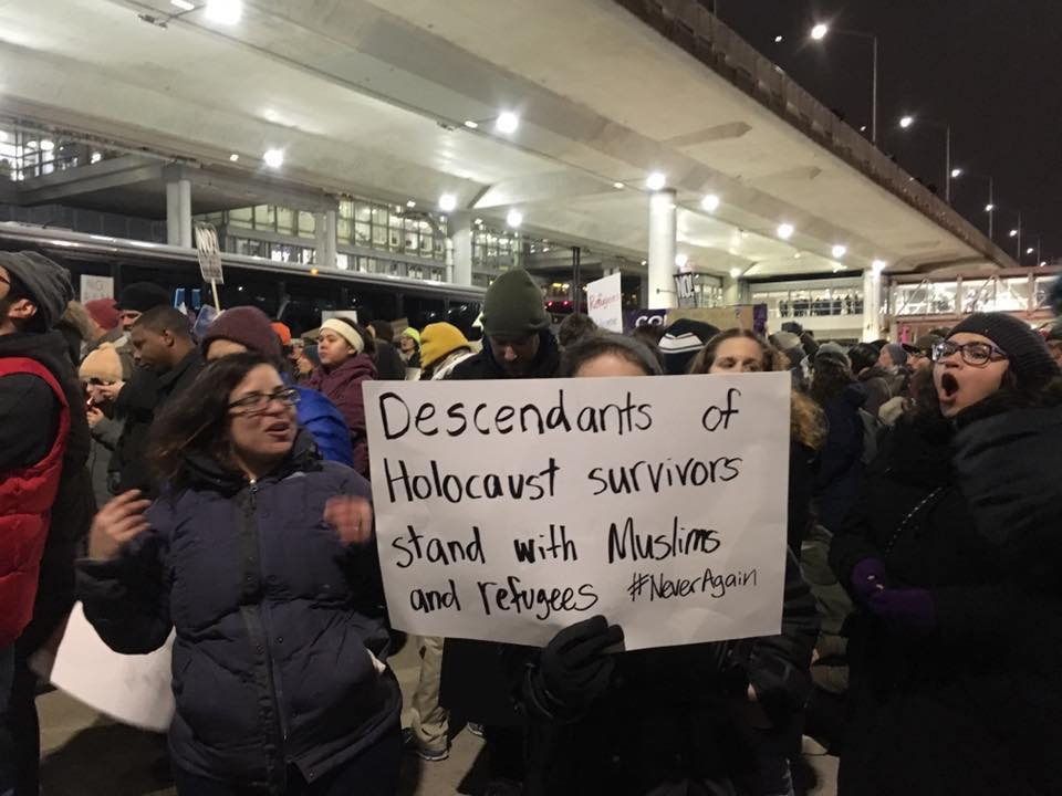 "On Jan. 28-30, 2017, hundreds of activists rallied and demonstrated at O'Hare International Airport in support of Muslims and in opposition to Donald Trump's ""Muslim ban."""