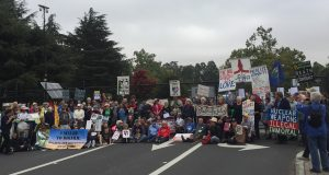 Aug. 9 demonstration at Lawrence Livermore National Laboratory, Livermore, Calif. Photo: Ron Kelch.