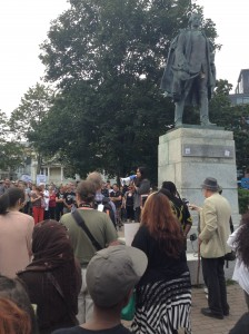 Rallying in solidarity with Charlottesville, protesters in Halifax, Nova Scotia, Canada, also demanded removal of this statue of Cornwallis, the city's genocidal founder. —Bob McGuire