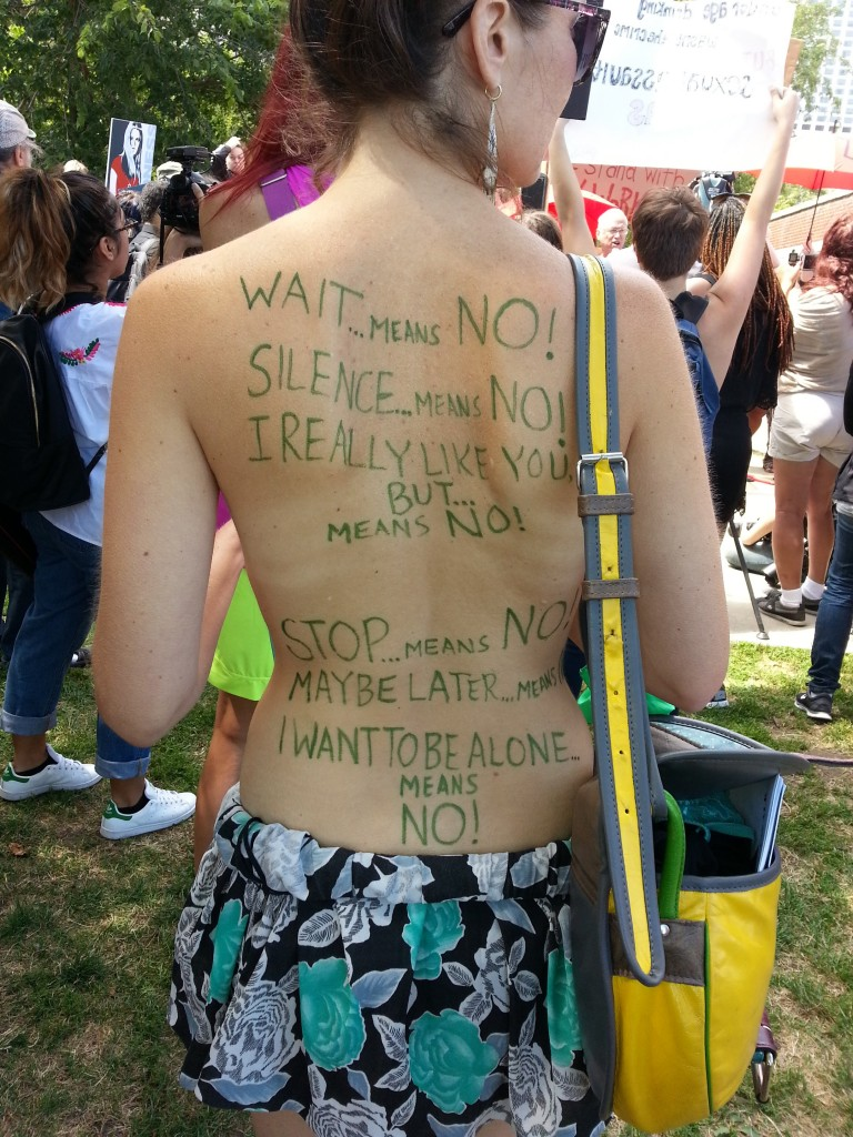 Chicago SlutWalk participant making her views known. Photo: Terry Moon/News & Letters