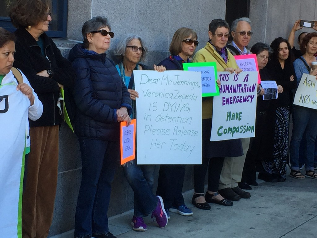 Rally for Veronica Zepeda in front of the ICE offices in San Francisco. Photo: Urszula Wislanka/News & Letters.